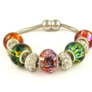 Jewelry - 18K White Gold Plated Murano Glass Bracelet